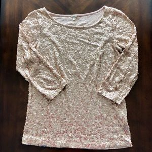 J. Crew Champagne/Gold Sequin 3/4 Sleeve Top Sz S